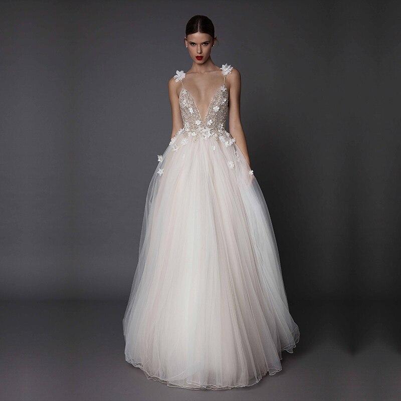 SSYFashion New Luxury   Evening     Dress   Sexy V-neck Backless Lace Flower Beading Beach Gown Formal Prom   Dresses   Vestido De Noiva