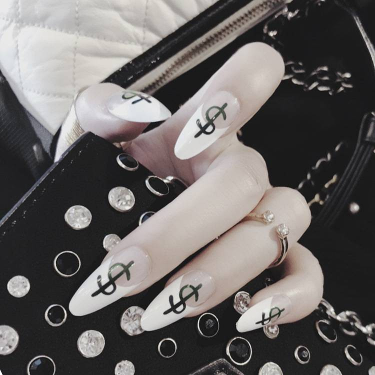 New Popular Fashion Money Printing Fake Nail Art Long Sharp Head False Nail 24pcs/lot Faux Ongles French False Nails Nails Art & Tools Nail Tools