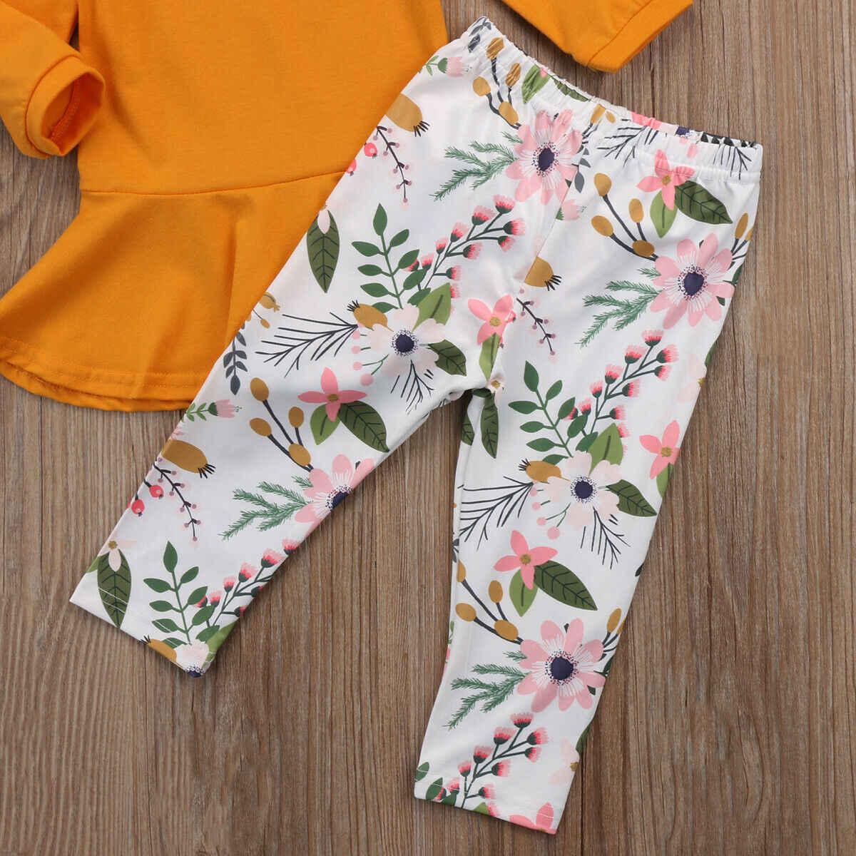 Niño niño niños niñas trajes ropa de manga larga Camiseta sólido vestido Floral juego de ropa Pantalones