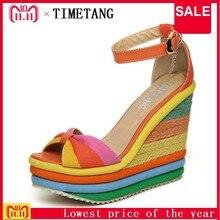 209c04ca0b02 TIMETANG Platform Sandal 2017 Summer Ladies Shoes Bohemia Rainbow Thick  Sole Sponge High Heel Wedge Open Toe Women Sandals