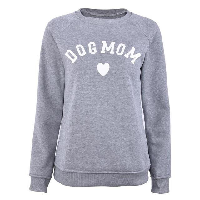 Dog Mom Women's Plus Velvet Fashionable Long Sleeve Casual Sweatshirt Printing Heart-shaped Print Kawaii Sweatshirt Clothing 4