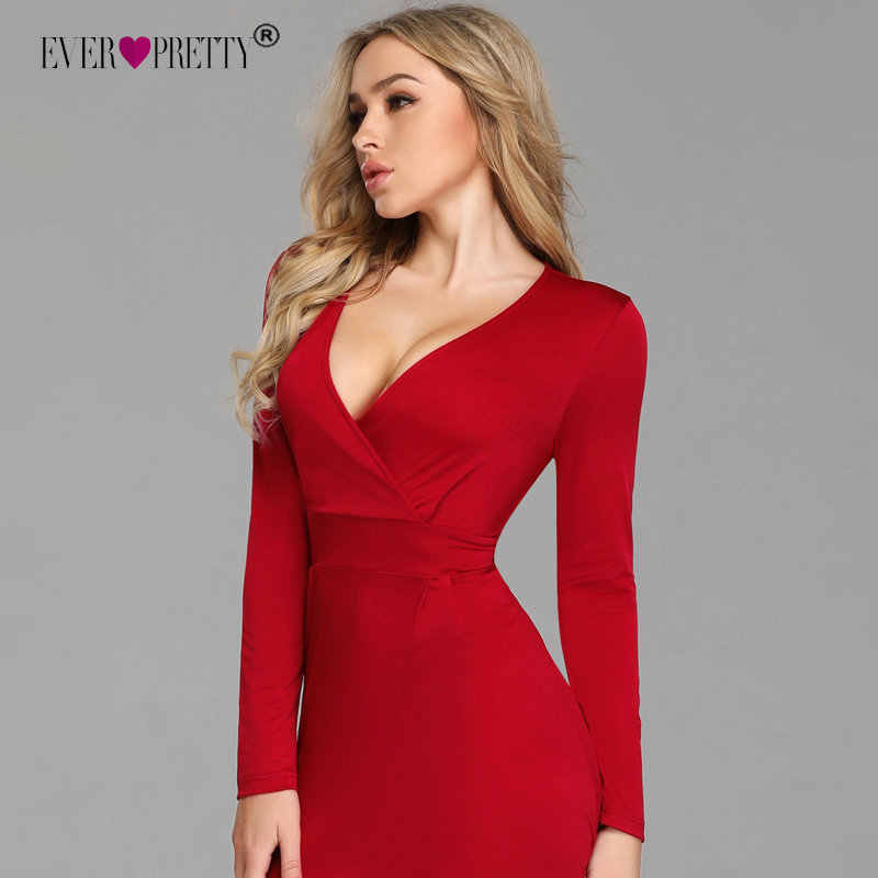 Red Long Sleeve Winter Formal Dress