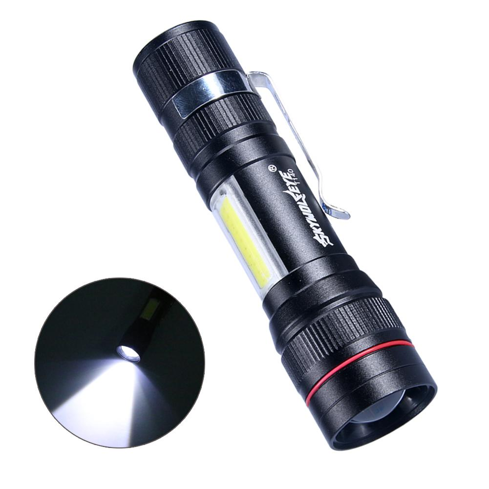 Portable Adjustable USB Charging Electric Torch Bright Telescopic Zoomable LED Flashlight With Belt Clip For Outdoor