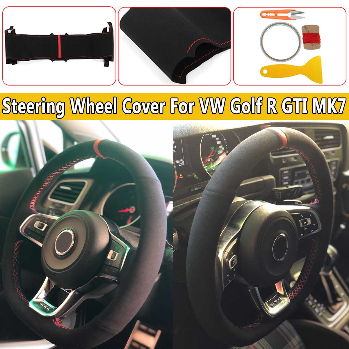 Mk7 Golf R >> Us 21 27 22 Off For Vw Golf R Gti Mk7 Golf 4 5 6 Mk5 6 For Polo Passat B5 6 Alhambra Suede Leather Steering Wheel Hand Stitch On Wrap Cover In