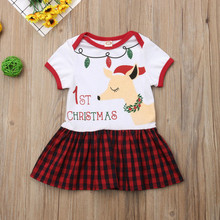 1st Christmas Baby Girl Dress Deer Print Plaid Short Sleeve Party First Birthday Girl Party Red Cartoon Baby Girl Clothes 1-5Y(China)