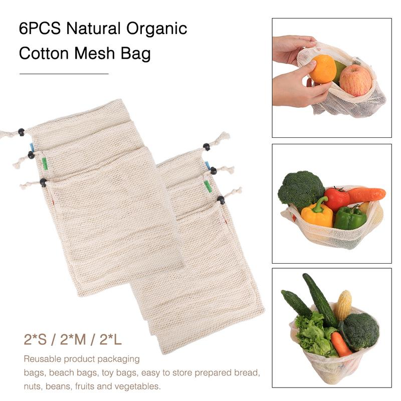 6PCS Natural Organic Mixed Cotton Mesh Bag Fruit And Vegetable Storage Bag Drawstring Reusable Mesh Pack Home Storage Containers in Bags Baskets from Home Garden