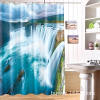 Spectacular waterfall 3D printing waterproof shower curtain cool shower curtains for bathroom