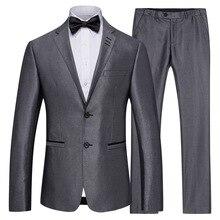Suit Men's High Quality Gray Business Casual Suit 2 Piece Set Groom Groomsmen Wedding Suit Trousers Suit XF012 suit lemoniade suit