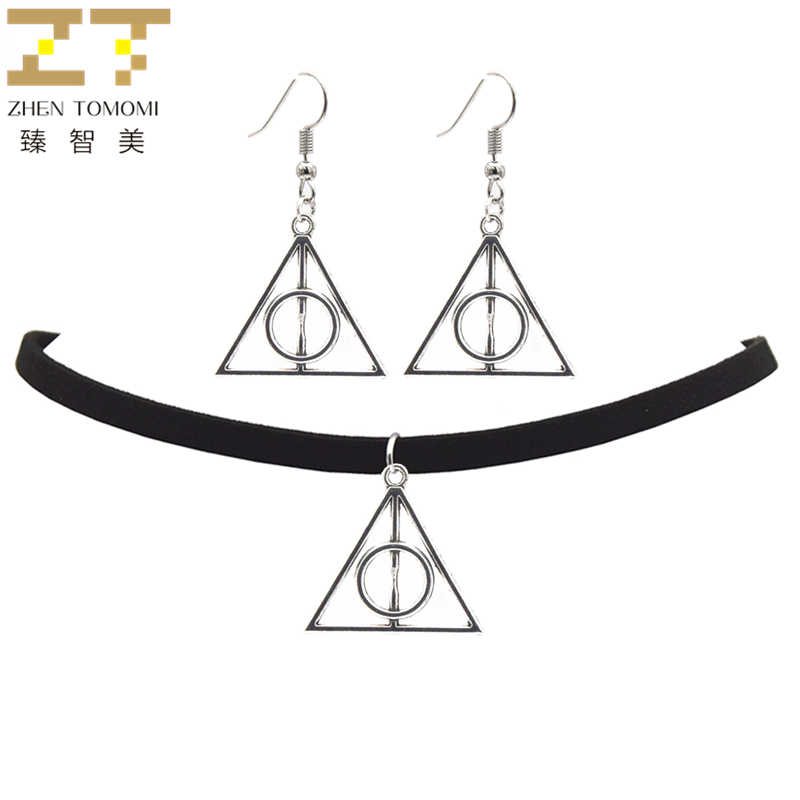 Zhen Top Fashion Tomomi Women's Jewelry Sets Vintage Retro Geometric Triangular Circle Choker Necklace/drop Earrings Women 2018