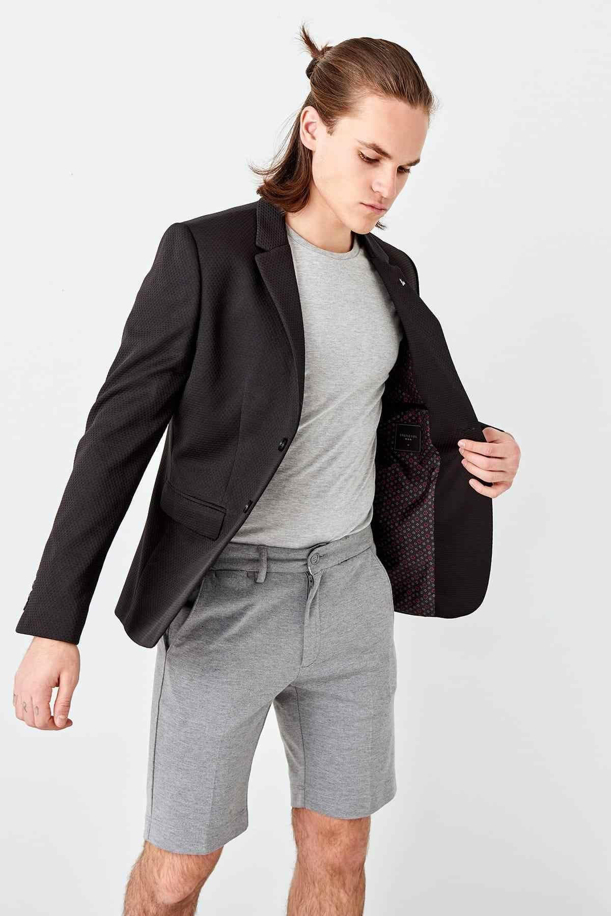 Trendyol Black Mannen Slim Fit Pin Ceket TMNSS19RA0002