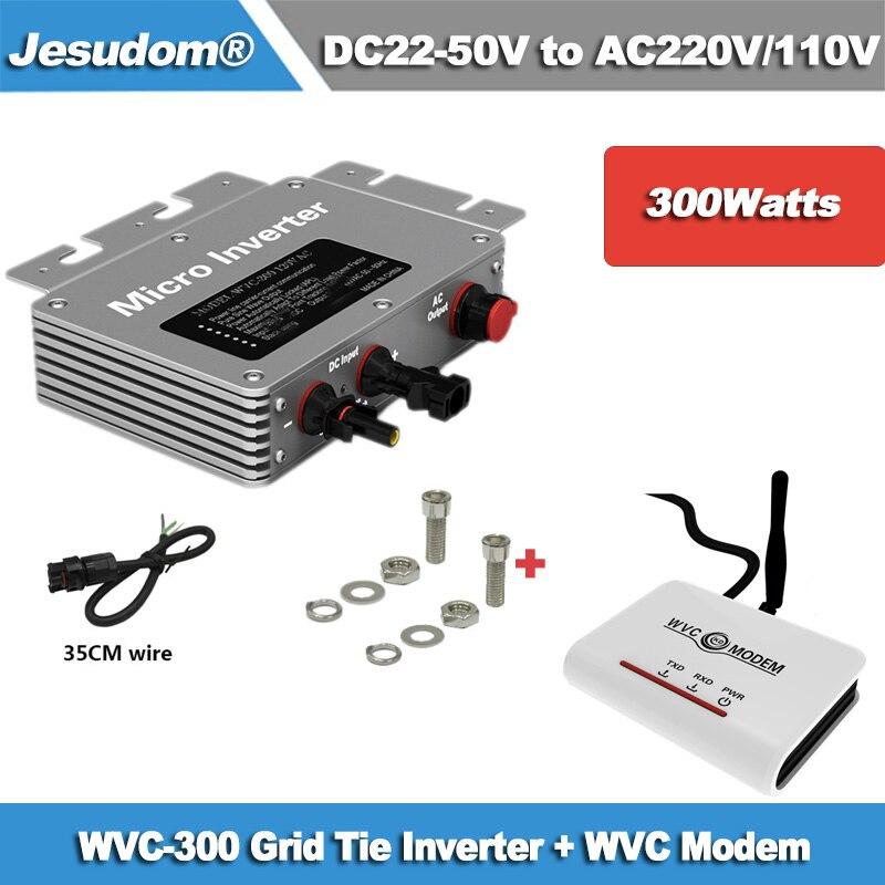 300W Grid Tie Micro Inverter WVC Modem Wireless Communication Function MPPT 22 50VDC to AC110V 230V