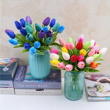 30pcs/lot PU Fake Artificial Flower Bouquet Real Touch Silk Tulip Flowers for Wedding Home Decoration Party supplies