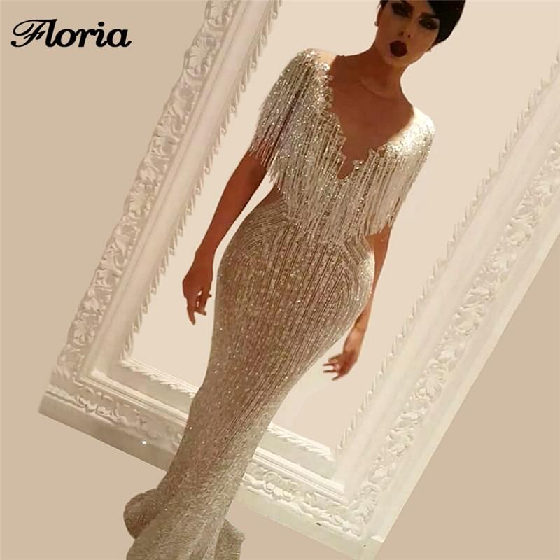 Arabic Shiny Beading Rhinestone Formal Prom Dress Aibye avondjurk Pageant Gowns Abendkleider Long Evening Dresses For Weddings