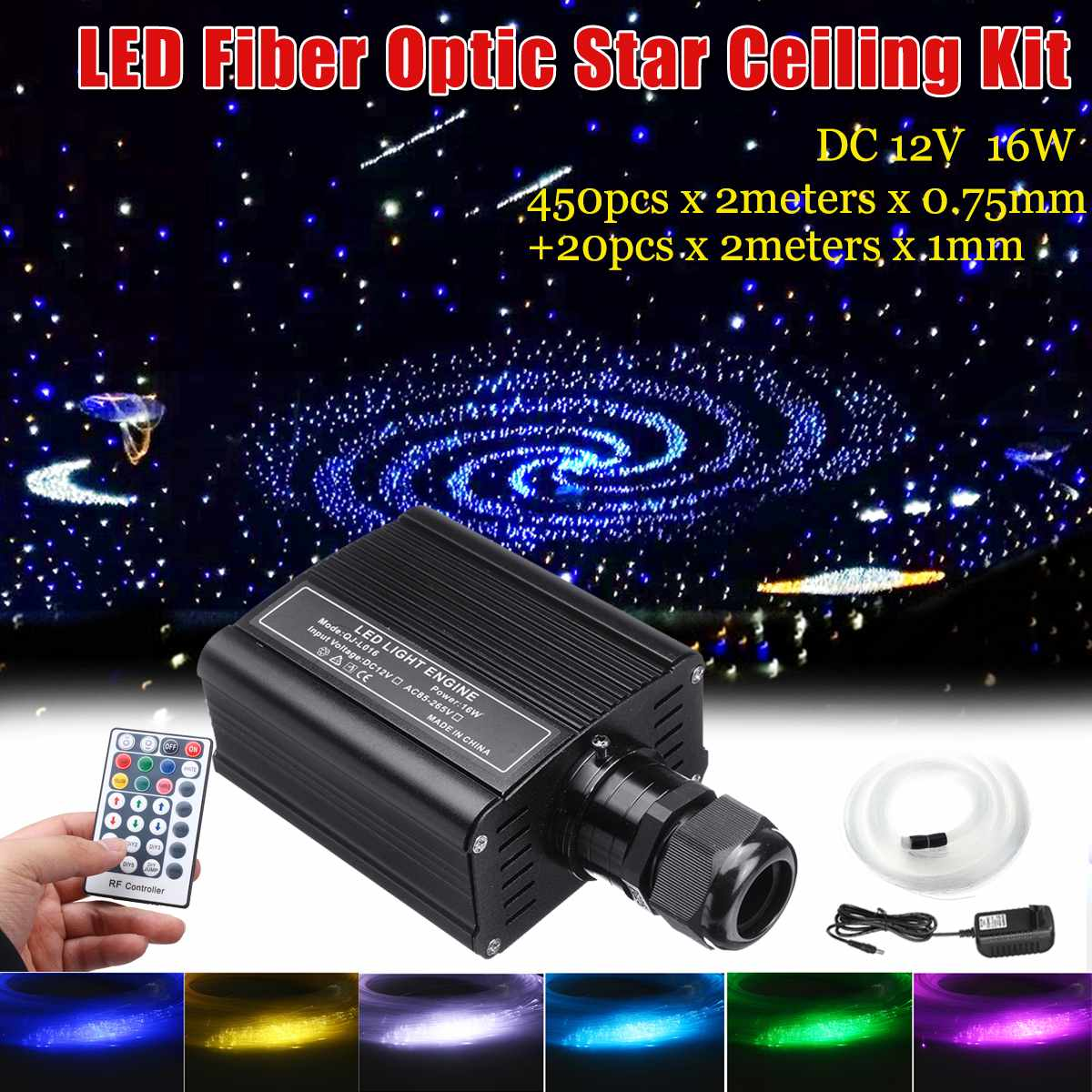 16 W RGBW светодиодный оптического волокна свет лампы 450 шт 2 м 0,75 мм + 20 шт 2 м 1 мм оптическое волокно + 28 кнопочный пульт для домашнего праздника автомобиля Свадебный декор