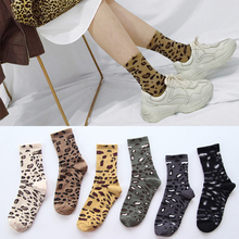 Autumn and winter fashion leopard socks casual Harajuku  creative personality retro warm womens cotton accessories