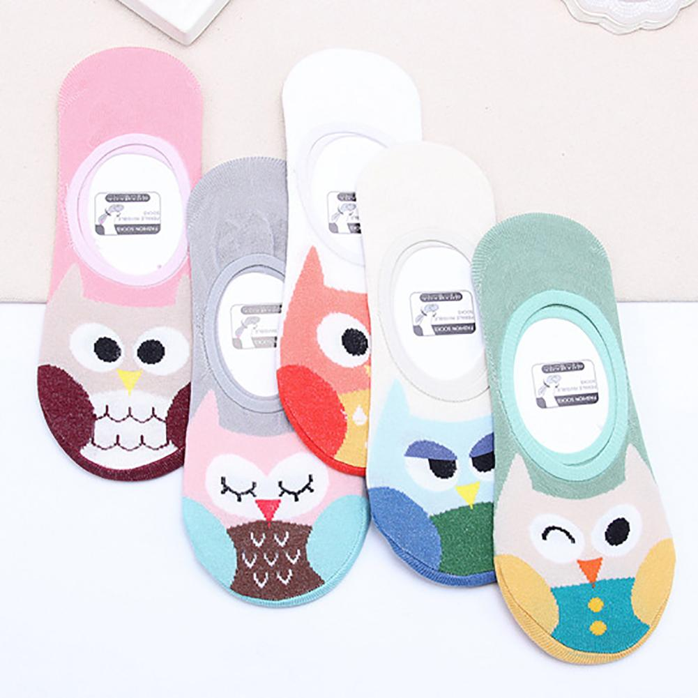 Cute Cartoon Owl Invisible Boat Socks No Show  Cotton Breathable Calcetines Women's Soft Ankle Sock Lovely Girl Skarpetki