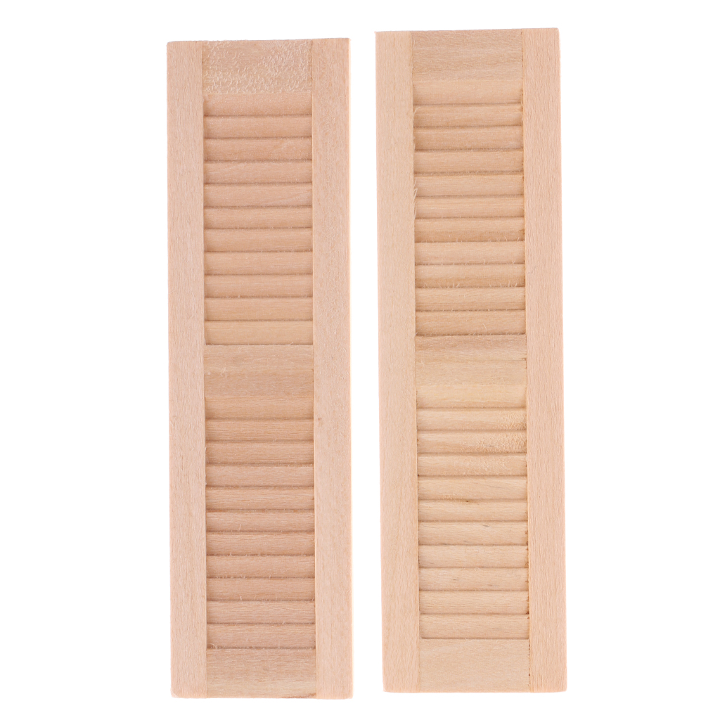 2 Pieces Unpainted Wood Shutters For 1/12 Dolls House DIY Window Accessory Miniature Dollhouse Window For Kids