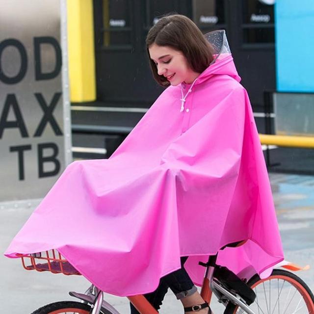 Outdoor Bicycle EVA Rain Poncho Adult Men Women Students Fashion Waterproof Oversized Hat Riding Raincoat Cycling Equipment