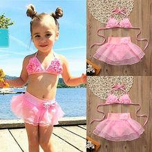 2pcs Toddler Kids Baby Girls Summer Holiday Beach Cute Mesh Tankini Bikini Swimwear Swimsuit Bathing Suit Beachwear Sets цена