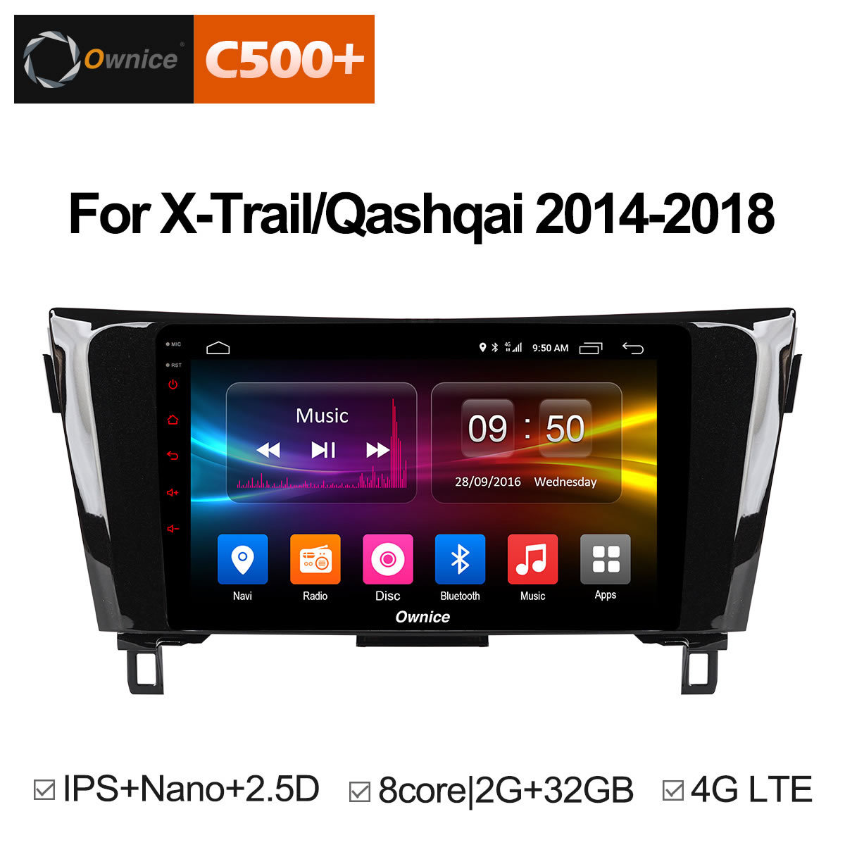 Ownice android 8.1 multimídia carro DVD player 8 core 32 2g RAM gb ROM para Nissan Qashqai X- trilha 2014-2018 4G GPS stereo unidade central