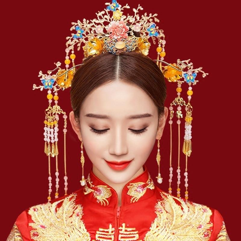 AINILIDAN Style chinois chapellerie de mariée Phoenix Coronet classique mariage bijoux ensembles cloisonné papillon couronne épingle à cheveux boucle d'oreille