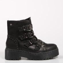 c19ba5ec XTI BOTINES botín MILITAR NEGRO Negro Polipiel Mujer-NEGRO tobillo botas  zapatos de Mujer zapatos