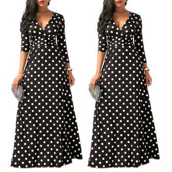 10115af3dd90 Moda mujer Boho largo Maxi vestido Polka Dot verano fiesta vestidos ...