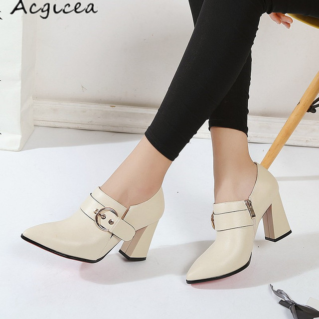 6b6dcaec4 women's shoes spring summer 2019 new women's fashion Pointed Toe simple  versatile thick with high heels leather shoes z181