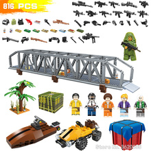 Купить с кэшбэком PUBG Modern Military Action Airdrop City Bridge Head Building Blocks Figures Mini Weapons Fighting Boy Gift Toy With Legoinglys
