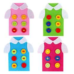 Детские швейные пуговицы с резьбой, в сборе, Мультяшные игрушки для рукоделия, Нетканая ткань, Обучающие игрушки ручной работы