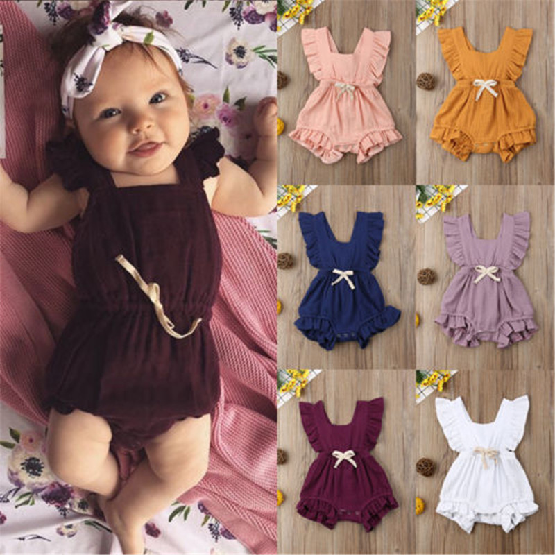 Emmababy Newborn Baby Boy Girl   Romper   Ruffle Sleeve Jumpsuit Outfits Bow-Knot Bubble Cotton Summer Clothing