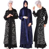 Dubai Women Sequins Lace Embroidery Abaya Kimono Open Front Cardigan Muslim Kaftan Dress Luxury Islamic Robe Ramadan Party New