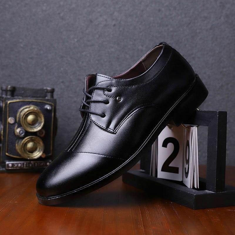 Couro brown Negócios No black Lace Homem Fundo Liso brown Deslizamento Up Up Único Imaxanna Sapatos Não Vestido Sapato Escritório Slip Macio Black Casual Novo De I81vBw