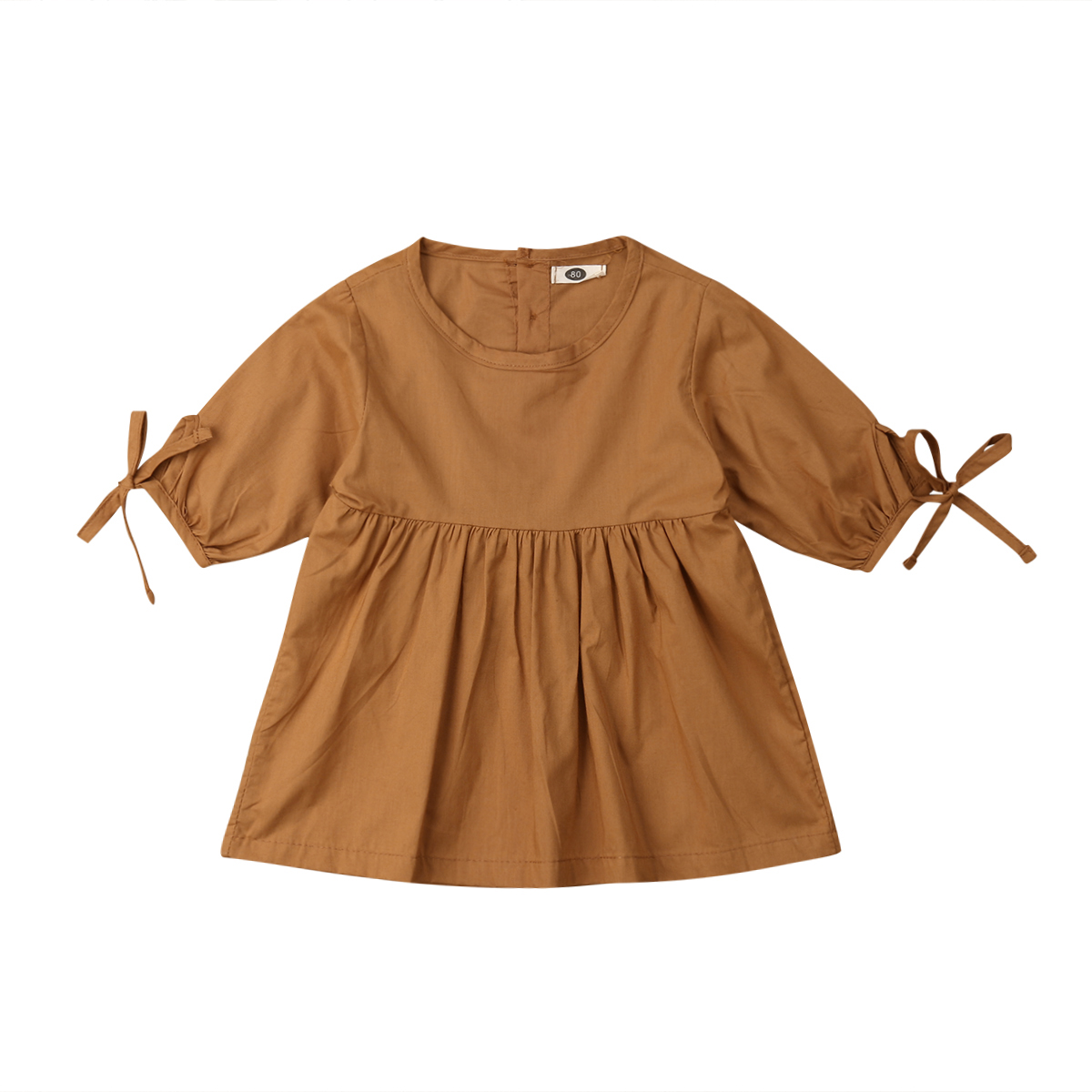 2019 Brand New Toddler Kids Baby Girls Solid Turmeric Dress Bowknot Long Sleeve Knee-Length A-Line Dress Brief Outfit 6M-4Y