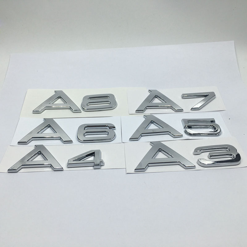 3D JDM Car Stickers Car-Styling For <font><b>Audi</b></font> A1 A3 A4 A5 A6 A7 <font><b>A8</b></font> TT Emblem <font><b>Chrome</b></font> Letters Rear Trunk Badge Logo Lettering Stickers image