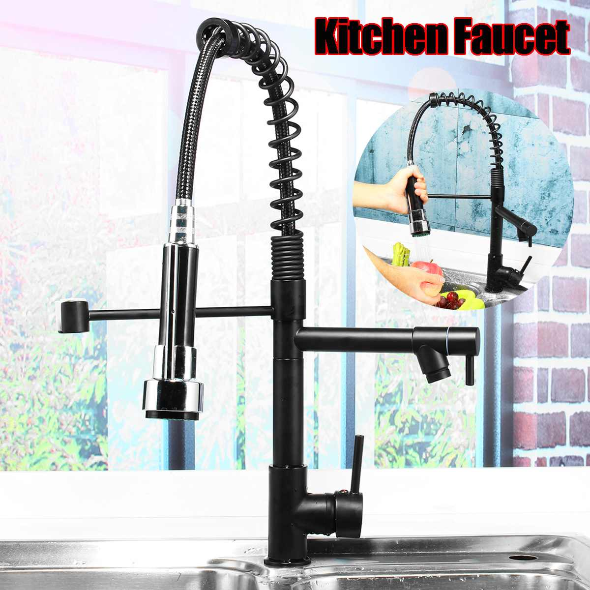 Black Spring Pull Out 360 Rotation Kitchen Faucet Water Tap Handheld Dual Spout Kitchen Water Outlet
