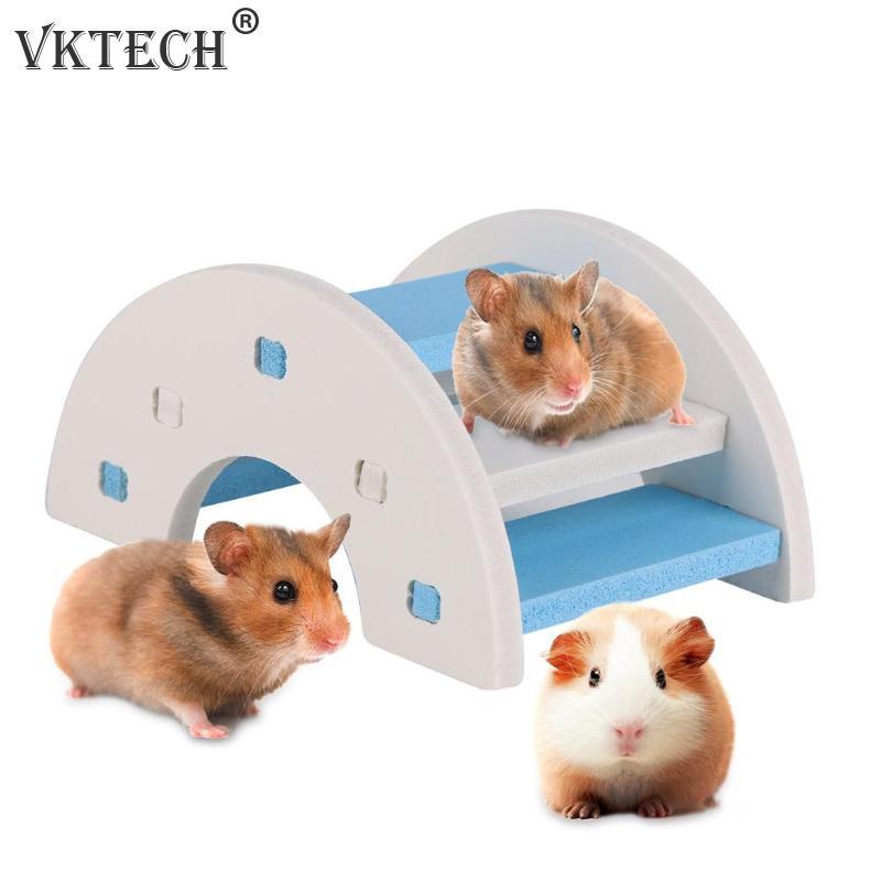 Natural Wood Cute Hamster Ladder Toys Wooden Bridge font b Pet b font Toys Small Animals