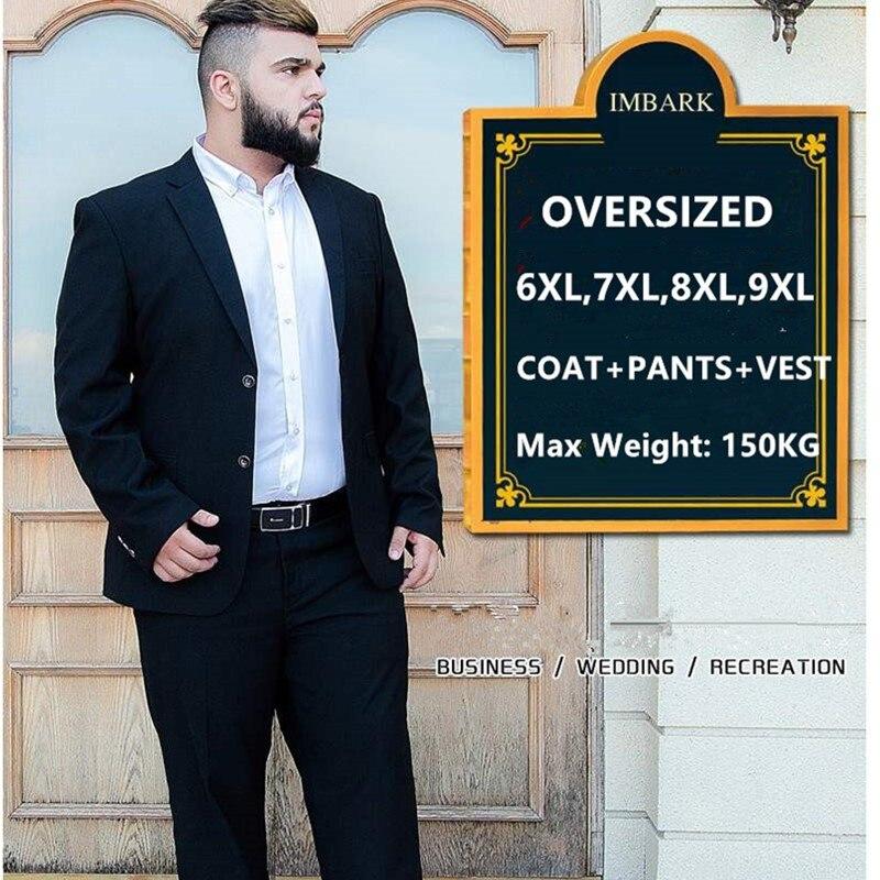 Мужской костюм из 3 предметов Свадебный костюм с брюками жениха размера плюс 5XL 6XL 7XL 8XL 9XL Terno черный синий формальный деловой комплект одежды