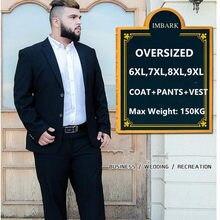 Traje de 3 piezas para hombre, trajes de boda con pantalones para novio, de talla grande 5XL, 6XL, 7XL, 8XL, 9XL, Terno, negro, azul, conjunto de ropa Formal de negocios