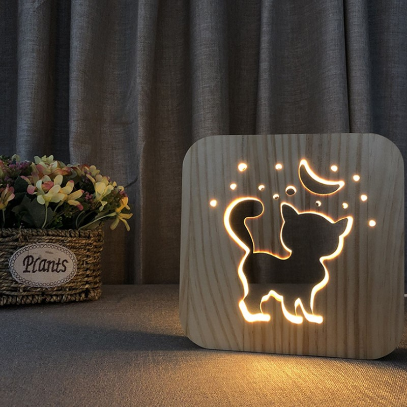 Cartoon Cat LED Animal Night Light Luminaria Wooden Light Baby Nursery Table Lamp For Baby Kid Birthday Gift Home Decoration
