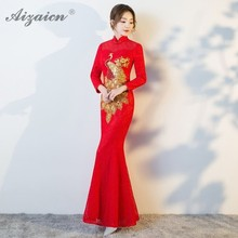 Moderm Phoenix Embroidery Long Dressing Red Bride Cheongsam Fish Tail Lace Qipao Women Traditional Chinese Dress Oriental Style