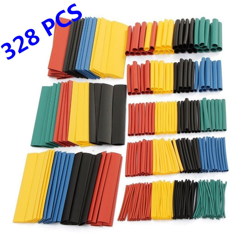 328pcs/set Heat Shrink Tubing Insulation Shrinkable Tube Assortment Electronic For Car Motorcycle Circuit Polyolefin Wire Cable