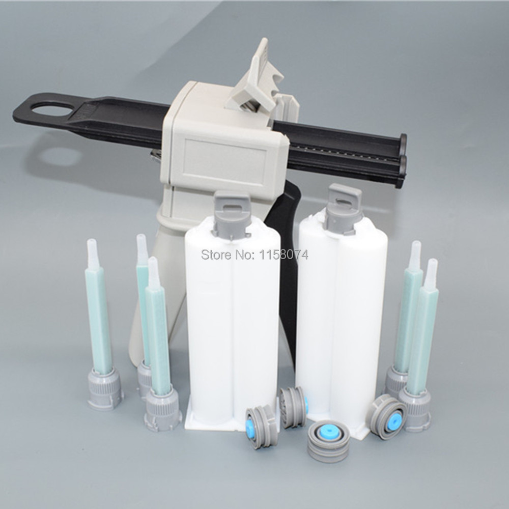 50ml 1:1 2:1 Dispensing Gun Epoxy Resin Applicator Dispenser + 5pcs Static Mixer Mixing Nozzle + 2pcs 50ml AB Glue Cartridge