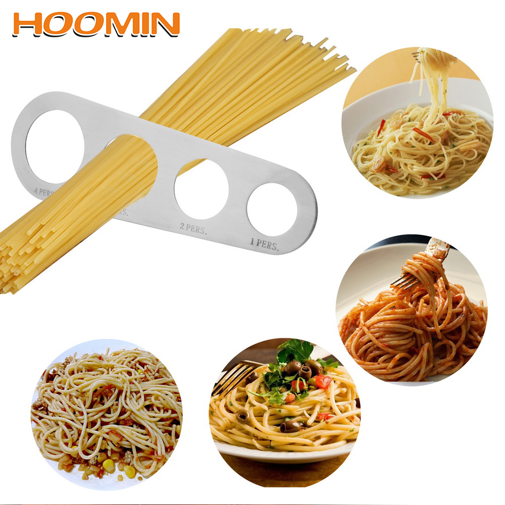 HOOMIN 1Pcs 4 Holes Spaghetti Measurer Stainless Steel Pasta Measuring Tools Kitchen Accessories