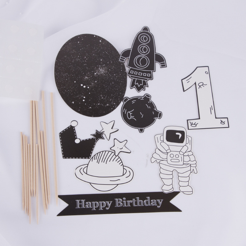 black white Series Astronaut Star Theme Cake Topper Boy Kids Happy Birthday Cake Decoration Party Supplies Cupcake Topper in Cake Decorating Supplies from Home Garden