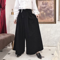 S~5xl! Customized New Men's Black Wide Leg Pants Japan Harajuku Kimono Fashion Casual Loose Harem Trousers Male Skirt Pants