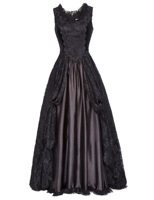 Vintage Victorian Steampunk Gothic Theater Gown Costume Lace Satin Formal Dress