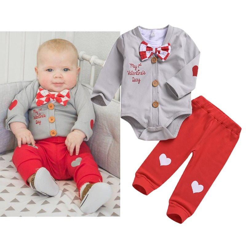 3pcs Boy Clothes Set Valentine Baby Boy Clothing Sets Infant Jumpsuits Gentleman Outfit Sets Bow Tie Shirt+Coat+pants