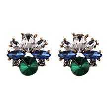 Double Layer Rhinestone Multicolor Crystal Stone Flower Dangle Earrings Vintage Women Jewelry Christmas Gift
