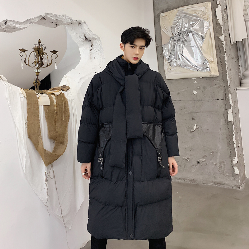 2018 Winter Men's Fashion Oversized Cotton-padded Clothes Loose Casual   Parkas   In Warm Black Long Coat High-quality Snow Jackets